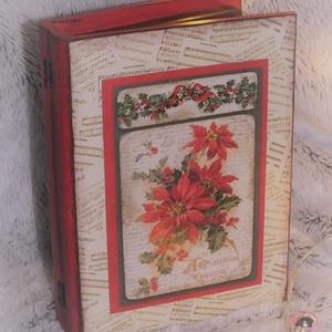 Könyv alakú dobozok, Karácsony & Mikulás, Karácsonyi dekoráció, Decoupage, transzfer és szalvétatechnika, Könyv alakú dobozok 3 féle karácsonyi mintával.\n\nKöszönöm, hogy benéztél! :), Meska