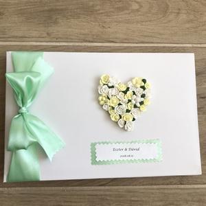 Névre szóló Baba avagy Esküvői vendégkönyv,emlékkönyv, Esküvő, Baba-mama-gyerek, Esküvői dekoráció, Meghívó, ültetőkártya, köszönőajándék, Virágkötés, Gyönyörű,igényes eskuvoi emlékkönyv/vendégkönyv,mely szatén szalaggal díszítve, fényes papíron névv..., Meska