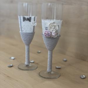 Esküvői bazsarózsa pezsgős pohár szett, Esküvő, Nászajándék, Otthon & lakás, Egyéb, Gyurma, Pezsgős pohár(210ml,vastag falú) szett esküvőre,alkalomra vagy akár évfordulóra.\n\nKézzel készített p..., Meska