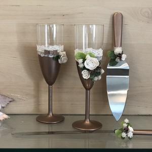 Rosé Gold esküvői pezsgős szett tortakés+kiszedő, Esküvő, Nászajándék, Otthon & lakás, Egyéb, Gyurma, Pezsgős pohár(210ml,vastag falú) szett esküvőre,alkalomra vagy akár évfordulóra.\n\nKézzel készített p..., Meska