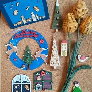 Lakás dekoráció csomag I., Otthon & Lakás, Karácsony & Mikulás, Karácsonyi dekoráció, Festett tárgyak, Egyedi, festett fadekorációk melyeket használhattok lakás dekorként, karácsonyfa  díszként, de ajánd..., Meska