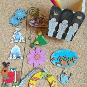 Lakás dekoráció csomag III., Otthon & Lakás, Karácsony & Mikulás, Karácsonyi dekoráció, Festészet, Lakás dekoráció csomag\nEgyedi, festett fadekorációk melyeket használhattok lakás dekorként, karácson..., Meska