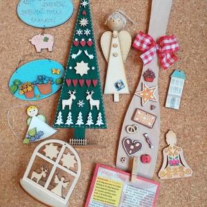 Lakás dekoráció csomag IV., Otthon & Lakás, Karácsony & Mikulás, Karácsonyi dekoráció, Festett tárgyak, Egyedi, festett fadekorációk melyeket használhattok lakás dekorként, karácsonyfa  díszként, de ajánd..., Meska