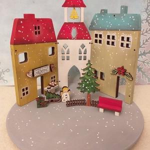 Karácsonyi fa dekoráció -  három házikó III., Otthon & Lakás, Karácsony & Mikulás, Karácsonyi dekoráció, Festett tárgyak, Karácsonyi fa dekoráció, mely mécsestartóként is használható  ( csak ledes mécses !  ) A házikókat, ..., Meska