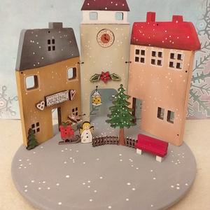Karácsonyi fa dekoráció - három házikó V.  , Otthon & Lakás, Karácsony & Mikulás, Karácsonyi dekoráció, Festett tárgyak, Karácsonyi fa dekoráció, mely mécsestartóként is használható  ( csak ledes mécses !  ) A házikókat, ..., Meska