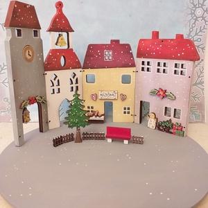 Karácsonyi fa dekoráció - négy házikó      , Otthon & Lakás, Karácsony & Mikulás, Karácsonyi dekoráció, Festett tárgyak, Karácsonyi fa dekoráció, mely mécsestartóként is használható  ( csak ledes mécses !  ) A házikókat, ..., Meska