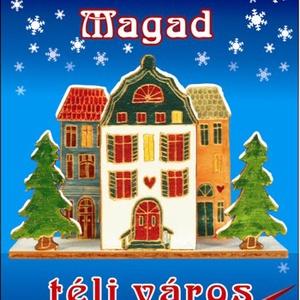 Téli város - fa dekorációs csomag, DIY (Csináld magad), Egységcsomag, Mindenmás, Téli város - Karácsonyi szalvétatartó egységcsomag, mely könnyen összeállítható, kiszínezhető, kifes..., Meska