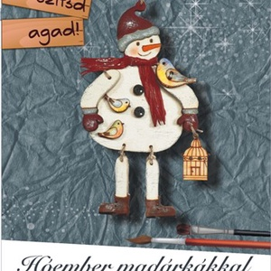Hóember madárkákkal- karácsonyi dekorációs egységcsomag, DIY (Csináld magad), Egységcsomag, Mindenmás, Méret kb.6x11 cm A csomagban lévő alkatrészekből összeállítható ez a karácsonyfa dísz és kifesthető,..., Meska