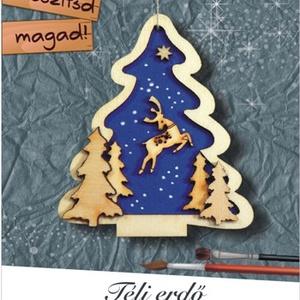Télierdő - karácsonyfa dísz egységcsomag, DIY (Csináld magad), Egységcsomag, Mindenmás, Méret kb.6,5x7 cm A mellékelt fa alkatrészekből és a kék karton segítségével készíthetünk hangulatos..., Meska