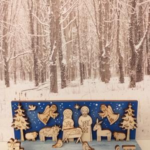 Mini kék Betlehem, Karácsony & Mikulás, Karácsonyi dekoráció, Mindenmás, Festett tárgyak, Kékre festett faalapra helyeztem el a magam tervezte natúr Betlehemi figurákat. A termék mérete 12*4..., Meska