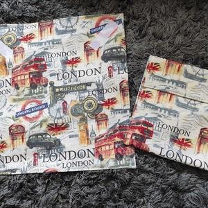 London mintás szett,  újraszalvéta,textilszalvéta tízórai,uzsonna csomagolására+uzsonnatasak, Otthon & Lakás, Konyhafelszerelés, Szalvéta, Varrás, Meska