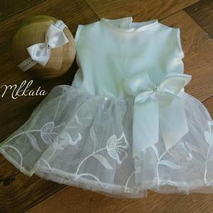 Alkalmi , keresztelő kislány ruha+ fejpánt 68-as méret (Mkkata) - Meska.hu