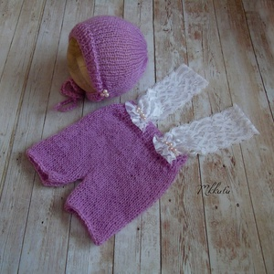 Kötött baba sapka + nadrág szett 0-2 hónapos méret  - ruha & divat - babaruha & gyerekruha - babasapka - Meska.hu