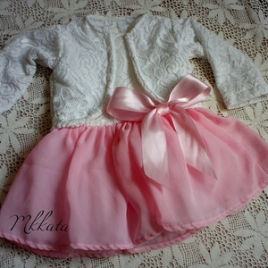 Alkalmi ,keresztelő kislány ruha + boleró  több méretben , Táska, Divat & Szépség, Gyerekruha, Ruha, divat, Baba (0-1év), Varrás,   Alkalmi-   keresztelő kislány ruha + bélelt kiskabát \nFelső része   csipke , szoknya rész tüll- mu..., Meska