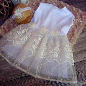 Alkalmi ,keresztelő kislány ruha+ fejpánt 74- es méret, Táska, Divat & Szépség, Gyerekruha, Ruha, divat, Baba (0-1év), Varrás,   Alkalmi-   keresztelő kislány ruha+ fejpánt szett \nA ruha felső része fehér szatén,\n alsó része tü..., Meska