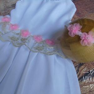 Alkalmi ,keresztelő kislány ruha+fejpánt szett 74-es méret  - ruha & divat - babaruha & gyerekruha - keresztelő ruha - Meska.hu