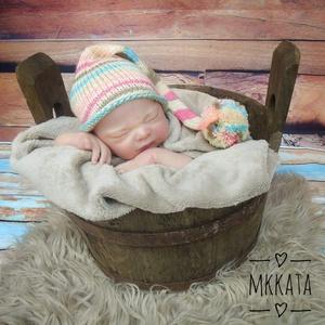 Kötött baba sapka  0-2 hónapos méret  - ruha & divat - babaruha & gyerekruha - babafotózási ruha és kellék - Meska.hu
