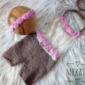 Kötött   nadrág + fejpánt szett  0-2 hónapos méret , Ruha & Divat, Babafotózási ruha és kellék, Babaruha & Gyerekruha, Kötés, Meska