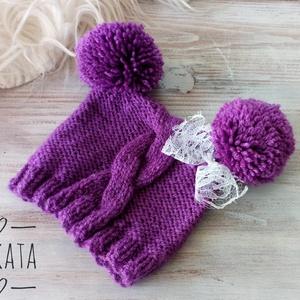 Kötött baba sapka 0-3 hónapos méret , Ruha & Divat, Babasapka, Babaruha & Gyerekruha, Kötés, Meska