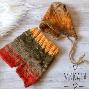 Kötött baba sapka+ nadrág szett  0-2 hónapos méret , Ruha & Divat, Babasapka, Babaruha & Gyerekruha, Kötés, Meska