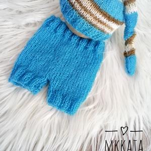 Kötött baba sapka + nadrág szett 0-2 hónapos méret , Ruha & Divat, Babaruha & Gyerekruha, Babafotózási ruha és kellék, Kötés, Meska