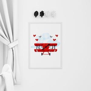 Babaszoba fali dekoráció, repülő, Otthon & Lakás, Dekoráció, Falra akasztható dekor, Fotó, grafika, rajz, illusztráció, Nyomtatható repülőgép babaszoba dekoráció - CSAK DIGITÁLIS formában\n\nFali dekoráció igazi kis pilótá..., Meska