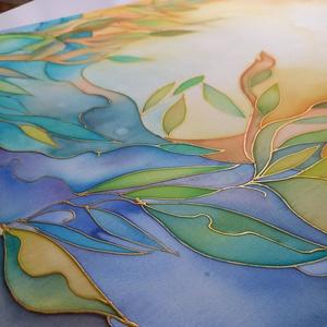 Áramlás - selyemkép, Otthon & Lakás, Dekoráció, Kép & Falikép, Selyemfestés, 100%-os hernyóselyemre, intuitív festéssel készült egyedi kép. Visszafogott formavilága és harmoniku..., Meska