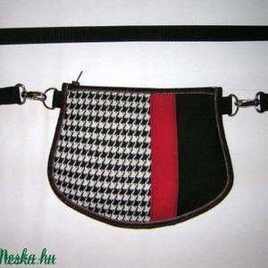 Övtáska  kis táska  2in1 fekete-piros-fehér, Táska & Tok, Kézitáska & válltáska, Vállon átvethető táska, Újrahasznosított alapanyagból készült termékek, Varrás, Meska