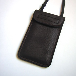 Állíthatópántos telefontok vintage bőrhatású kistáska sötétbarna  - Meska.hu