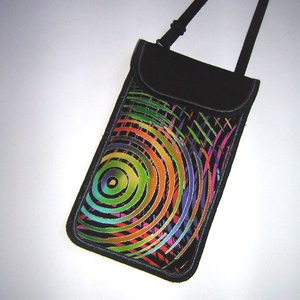 nyakbaakasztható  mobiltok állítható pánttal XL telefon tartó fekete színes (mocsi) - Meska.hu