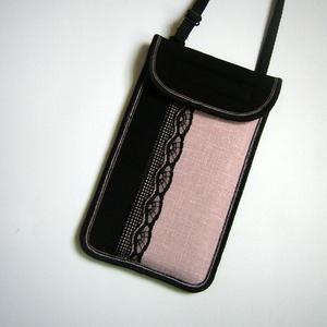 Állíthatópántos mobil tok  telefontok fekete púder színű, Telefontok, Pénztárca & Más tok, Táska & Tok, Varrás, Mindenmás, Egyedi,igényesen elkészített mobiltartó. Tökéletesen illeszkedik az iphone 6 plus, iPhone 7 plus, iP..., Meska