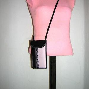 Telefon tok állíthatópántos mobiltok   fekete púder színű - Meska.hu