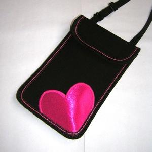 Mobil Tok állítható pánttal  XL telefon tartó Nyakba akasztható kistáska fekete-pink Szivecske - Meska.hu