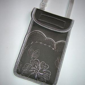 RENDELHETŐ Elegáns Mobil Tok állítható pánttal  XL telefon tartó  oldaltáska iPhone kistáska diszkrét ezüst hímzéssel - Meska.hu