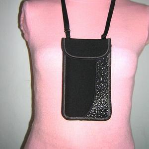 Elegáns Mobil Tok állítható pánttal  XL telefon tartó  oldaltáska iPhone kistáska fekete-ezüst-bézs - Meska.hu