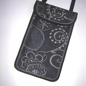 Rendelhető Mobiltok állítható pánttal  XL telefon tartó Nyakba akasztható kistáska hímzett farmer - táska & tok - pénztárca & más tok - telefontok - Meska.hu
