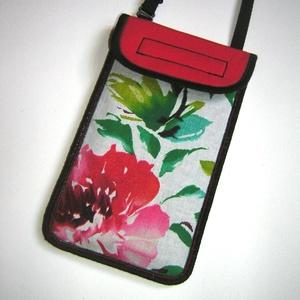 Állítható pántos mobil tok  Plus-os méretű telefonokhoz  vidám nyárias korall-fehér-zöld, Táska & Tok, Kézitáska & válltáska, Vállon átvethető táska, Varrás, Újrahasznosított alapanyagból készült termékek, Meska