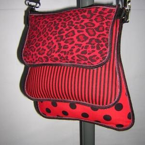 3in1 Táska oldaltáska válltáska 3 részes kistáska piros-fekete, Táska & Tok, Variálható táska, Varrás, Egyedi, igényesen elkészített három részes táska. Számtalan módon variálható mivel minden része két ..., Meska