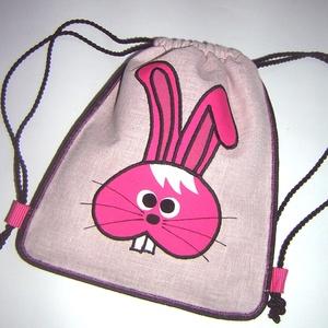 Cuki kislány hátitáska Gyerek hátizsák gymbag ovis táska rózsaszín pink nyuszival - Meska.hu