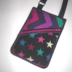 Kétrekeszes Kistáska mobiltok pénztárca irattartó nyakba akasztható sötétkék színes - táska & tok - kézitáska & válltáska - vállon átvethető táska - Meska.hu