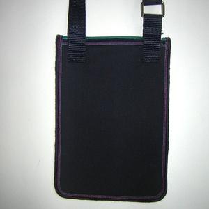 Kétrekeszes Kistáska mobiltok pénztárca irattartó nyakba akasztható sötétkék színes - Meska.hu