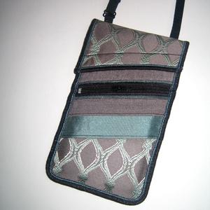 Elegáns Mobiltok állítható pánttal  XL telefon tartó Nyakba akasztható kistáska elöl cipzáros zsebbel (mocsi) - Meska.hu