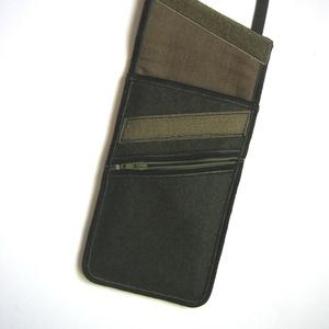 Telefontok kártyatartó kis zsebbel Nyakba akasztható elegáns kistáska  khaki - Meska.hu