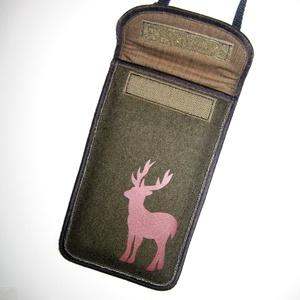 Szarvasos mobil tok  Plus-os méretű telefonokhoz  állítható pántos kistáska vadászoknak - Meska.hu