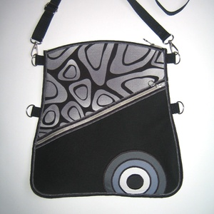 Oldaltáska elegáns közepes méretű táska 3in1 Fekete Szürke Fehér, Táska & Tok, Kézitáska & válltáska, Vállon átvethető táska, Varrás, Meska