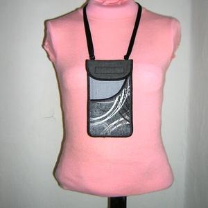 Mobiltok állítható pántos  XL telefon tartó Nyakba akasztható zsebes kistáska szürke-ezüst  - táska & tok - pénztárca & más tok - telefontok - Meska.hu