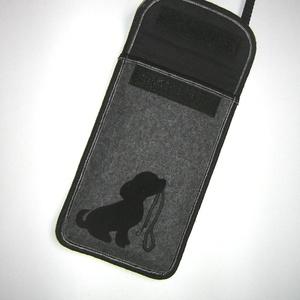 Telefontok  Plus-os méretű telefonokhoz  XL-es tok állítható pánttal Kutyus pórázzal - Meska.hu
