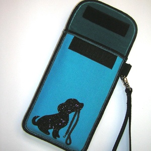 Mobiltok csuklótáska Plus-os méretű telefonokhoz  XL-es tok Kutyus pórázzal (mocsi) - Meska.hu