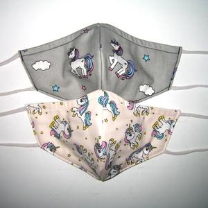 2 db Gyerek Szájmaszk  kislányos Unikornis textil maszk, Egyéb, Táska, Divat & Szépség, Szépség(ápolás), Maszk, szájmaszk, Egészségmegőrzés, Varrás, Igényesen elkészített, mosható, vasalható háromrétegű gyermek szájmaszk. Rugalmas megkötövel amit ak..., Meska