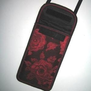 Mobiltok állítható pánttal XL telefon rózsás brokát kistáska fekete-piros-bordó - Meska.hu